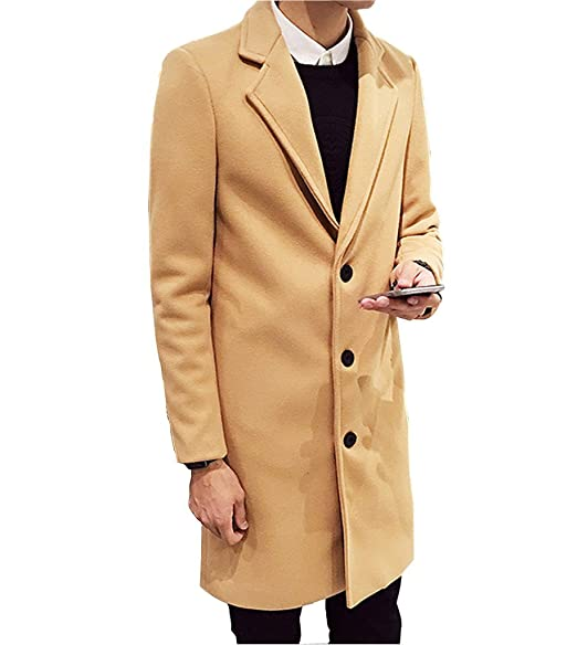 Amazon.com: OUYE - Abrigo largo casual para hombre: Clothing