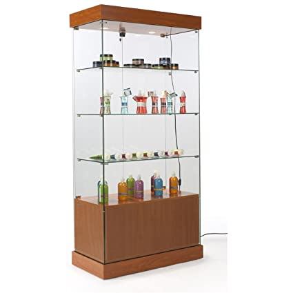 Great Glass Display Cabinet With Locking Hinged Doors And Storage Cabinet, 3  Fixed Height Glass