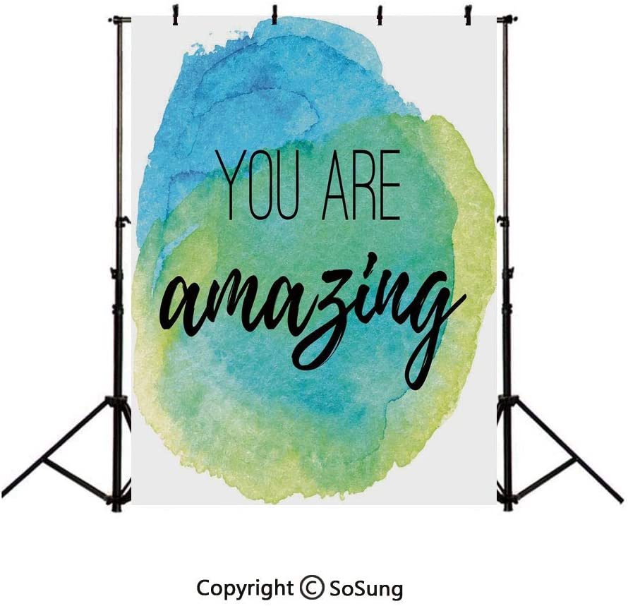 10x15Ft Vinyl Lifestyle Decor Backdrop for Photography,You are Amazing Inspirational Quote on Watercolor Painbrush Design Background Newborn Baby Photoshoot Portrait Studio Props Birthday Party Banner