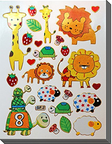 (Jazzstick 140 Glitter Lion Turtle Sheep Giraffe & Animal Decorative Sticker 10 sheets)
