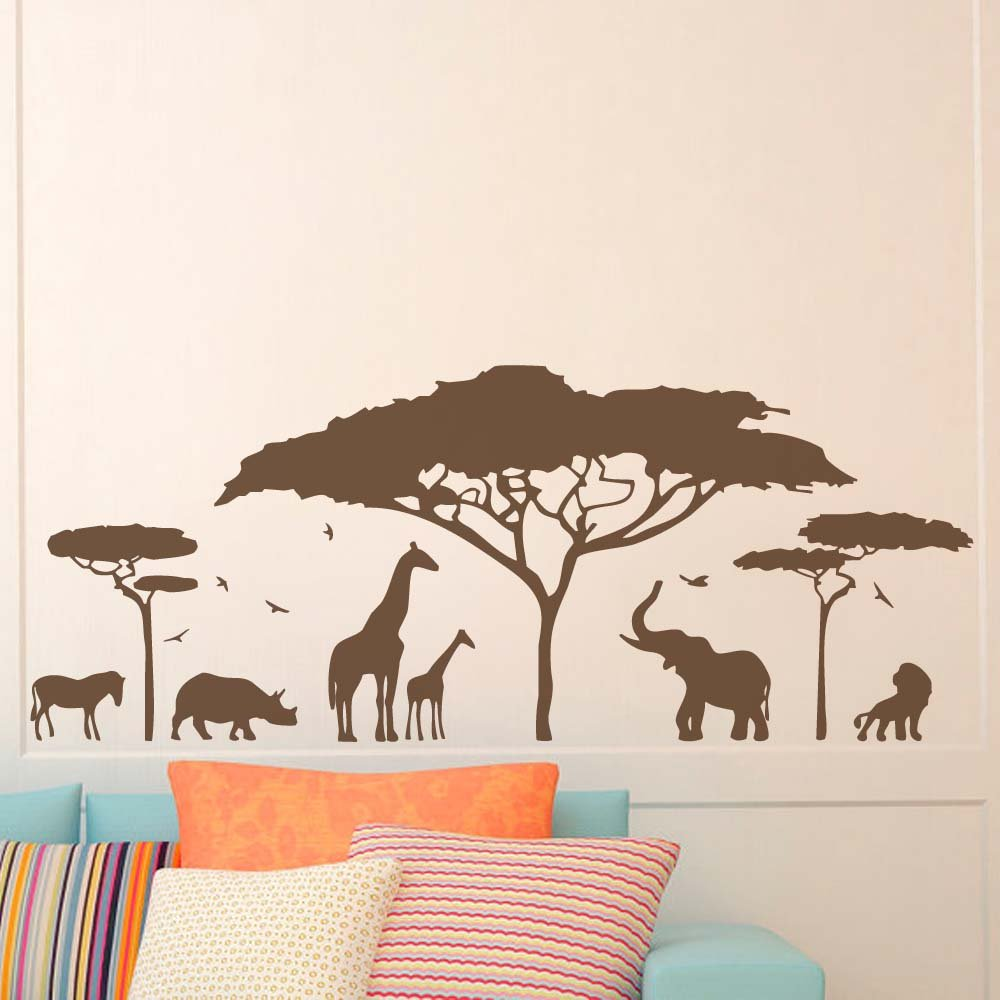 BATTOO Safari Wall Decal- Jungle Wall Decal- Safari Nursery Decor- Animals Wall Decal Stickers Bedroom Nursery Living Room Vinyl Wall Art(Dark Brown, 22 WX9 H) 22 WX9 H)