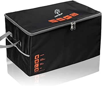 Auto Car Trunk Organizer Foldable Cover Waterproof Non Slip Bottom Cargo Storage Multiple Compartments for Any Car, SUV, Mini-van,Large Capacity 75L,Washable (Black)
