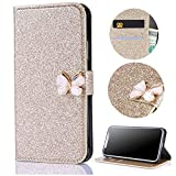 Stysen Galaxy S6 Wallet Case,Shiny Gold Bookstyle with Strass Butterfly Bowknot Buckle Protective Wallet Case Cover for Samsung Galaxy S6-Butterfly,Gold