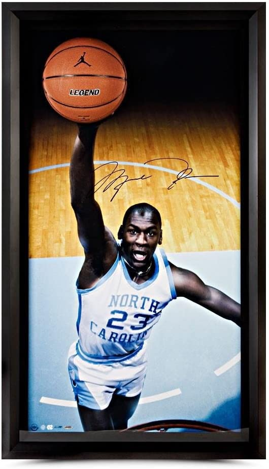 Autographed Michael Jordan UNC Breaking Through - Upper Deck - Autographed College Photos