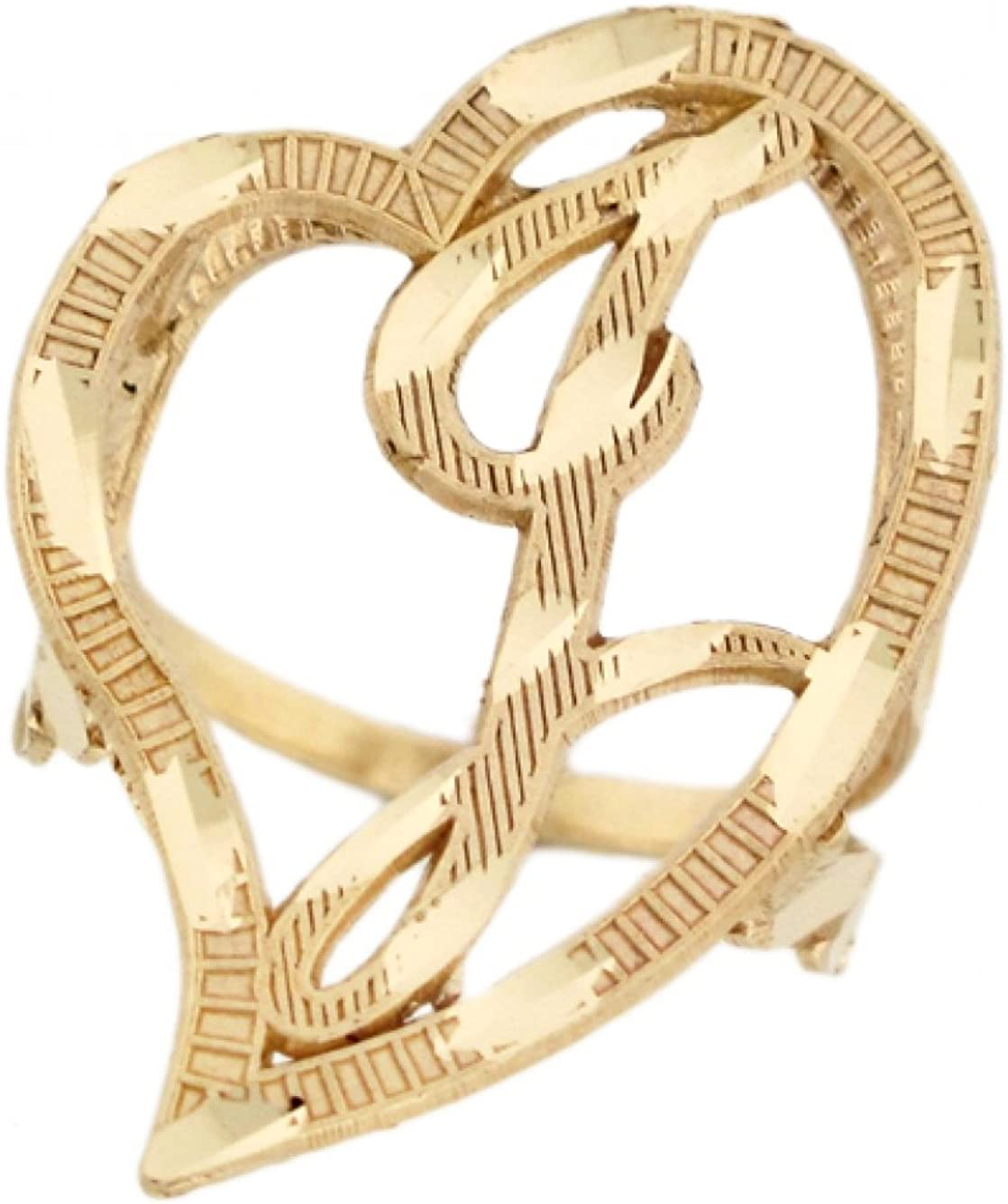 10k or 14k Real Gold Large Heart Cursive Letter M Initial Ring