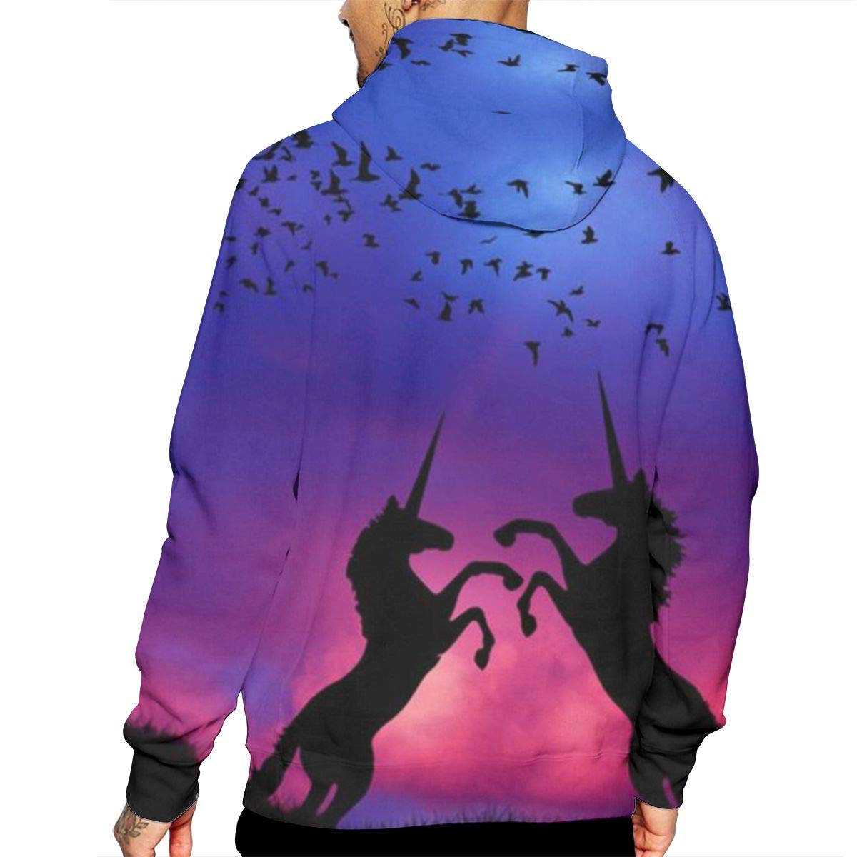 Unicorn T-Shirt Hooded with A Pocket Rope Hat Customization Fashion Novelty 3D Mens