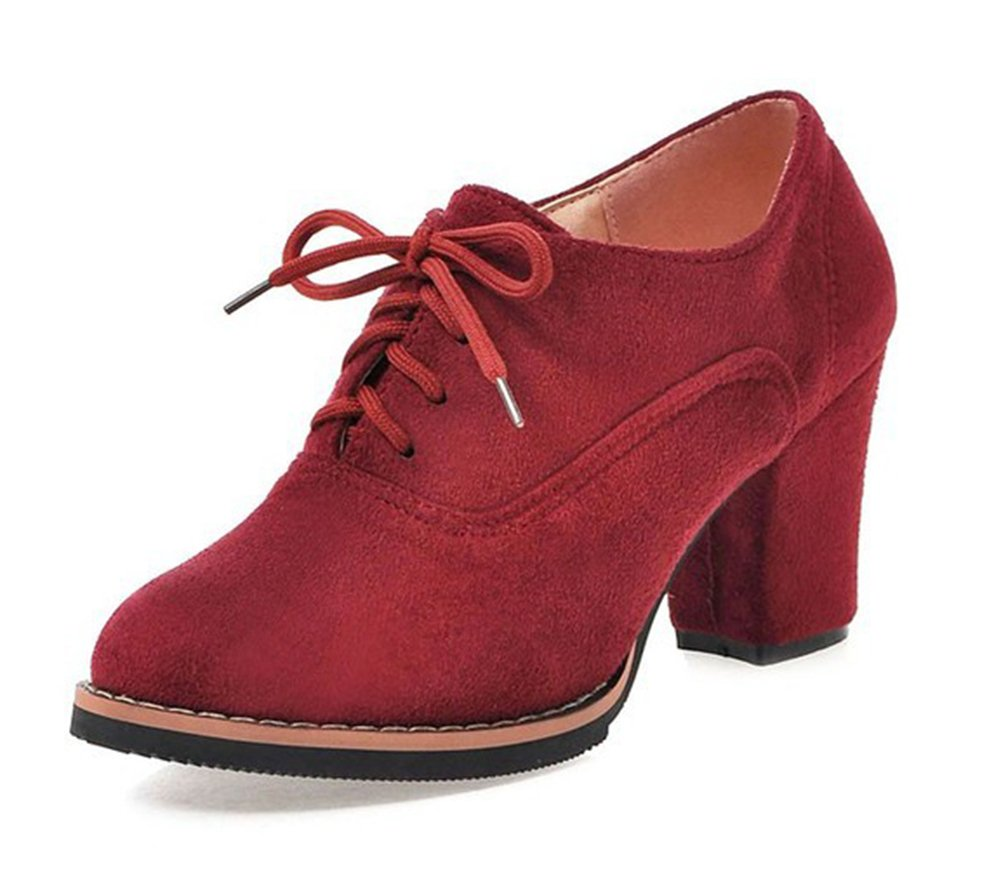 Aisun Women's Simple Pointed Toe Dress Wear to Work Lace up Oxfords Shoes Block Mid Heel Ankle Booties (Red, 7.5 B(M) US)