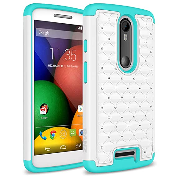 Motorola Droid Turbo 2/ Moto X Force Case, RANZ Turquoise/ White Spot Diamond