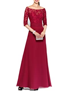 Promworld Womens Half Sleeve Lace A-Line Mother of The Bride Dresses
