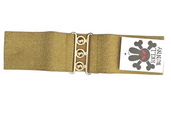 Hellbunny Gürtel Stretch Für 50er Jahre Kleider Retro Farbe Gold