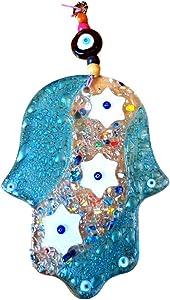 Bluenoemi Beautiful Good Luck Glass Light Blue Hamsa Hand Wall Decor Amulet Stars of David and Protection Eye