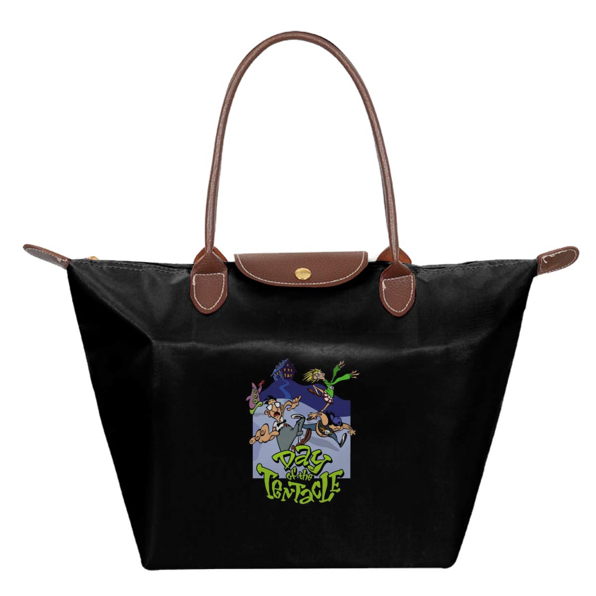 Day Of The Tentacle Waterproof Leather Folded Messenger Nylon Bag Travel Tote Hopping Folding School Handbags