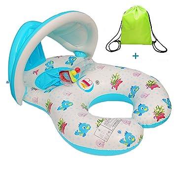 Uleade Inflable Madre bebé Infante Niño Piscina asiento del flotador del barco Anillo Raft Presidente piscina