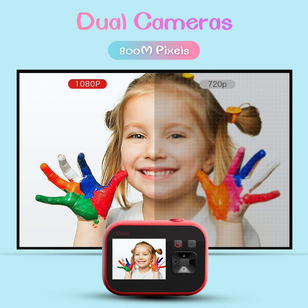 HDST Kids Camera with Built-in Memory Card Toys Gifts for 4~8 Years Old Girls, Shockproof Kids Video Camera & Camcorder with Soft Silicone Shell for Outdoor Play, Pink by HDST (Image #3)