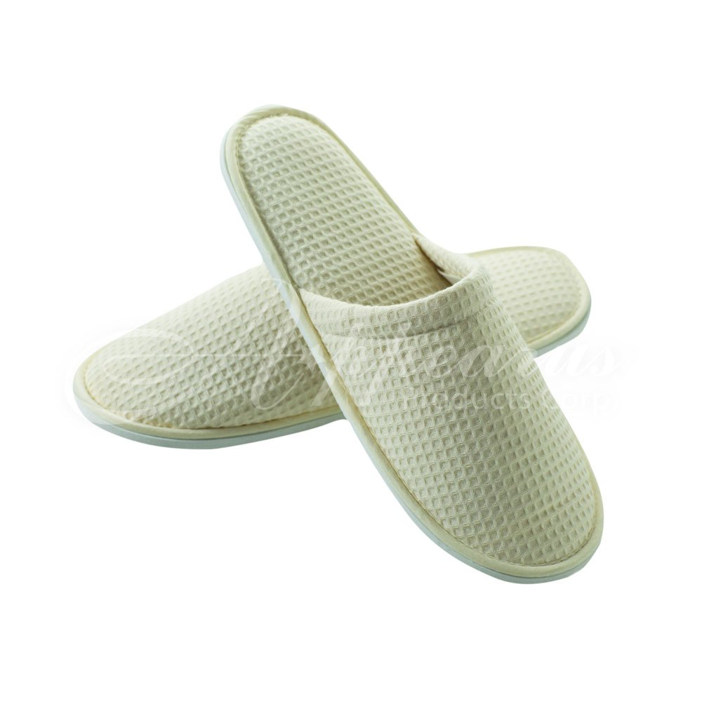 Appearus Cotton Waffle Spa Hotel Slippers, Natural (3 Pairs)