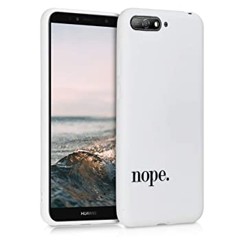 kwmobile Funda para Huawei Y6 (2018) - Carcasa de TPU para móvil y diseño Nope en Negro/Blanco