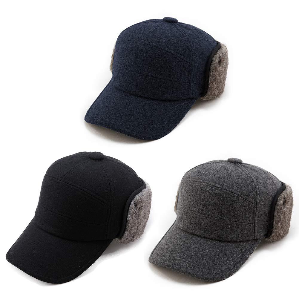 Mens Fitted Wool Baseball Cap Faux Fur Earflap Hunter Winter Army Elmer Fudd Hat Black by Fancet (Image #7)