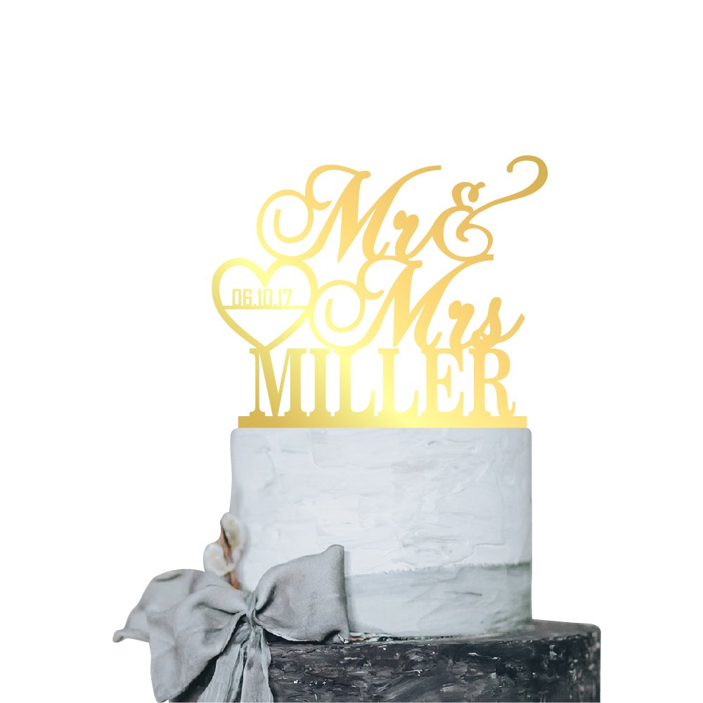 P Lab Personalized Cake Topper Mr. Mrs. Last Name Custom Date 2 Wedding Cake Topper Acrylic Decoration for Special Event Gold Mirror