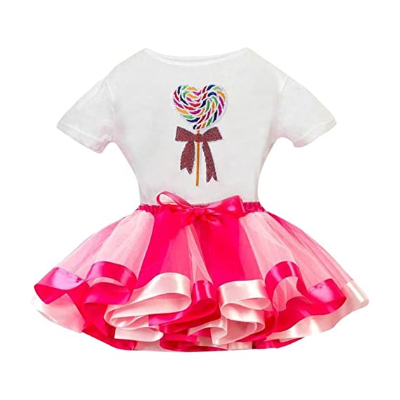 QinMM Camiseta Tops + Falda Niña, Camisa de Baile de Danza ...