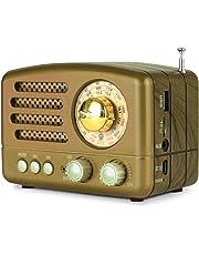 PRUNUS Radio Transistor FM Am SW SD USB MP3 Bluetooth de Formato de Madera Retro-Clásico, con Altavoz, función AUX, Sintonizador Circular de 270º y indicador de sintonía.(Oro)