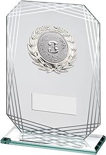 Lapal Dimension Jade/Argent rectangulaire en Verre avec Bordure argentée Trophy–(Centre de diamètre)–6,75en