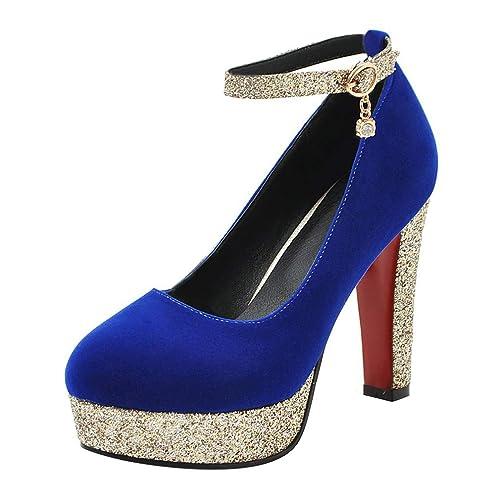 Coolulu Mujer Zapatos de Tacón Alto con Plataforma Correa al Tobillo con Hebilla  Adornados de Lentejuelas Brillantes para Fiesta  Amazon.es  Zapatos y ... e2143be46bd6