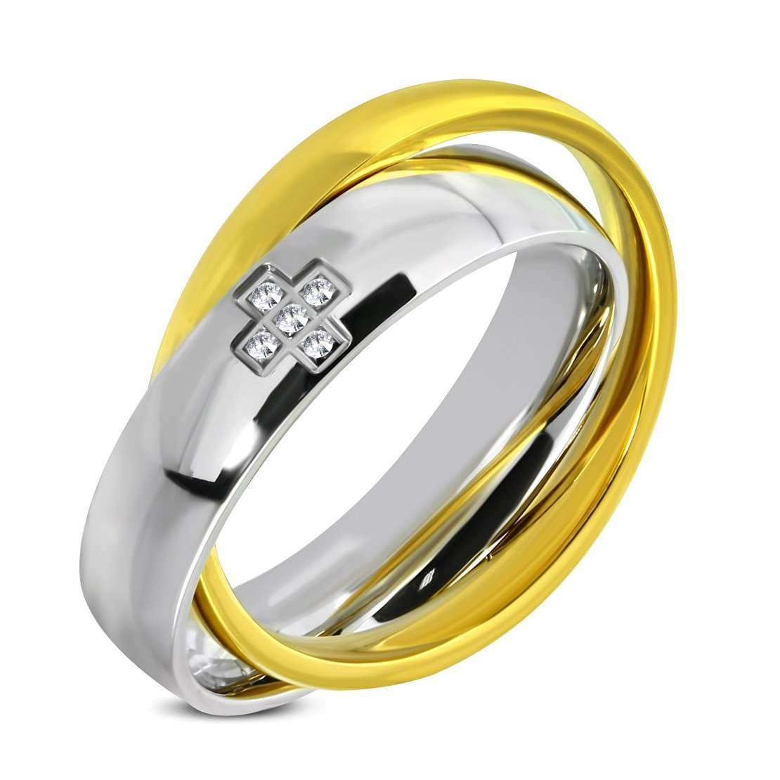 Stainless Steel 2 Color Plain Interlocking Greek Cross Comfort Fit Half-Round Wedding Band Ring with Clear CZ