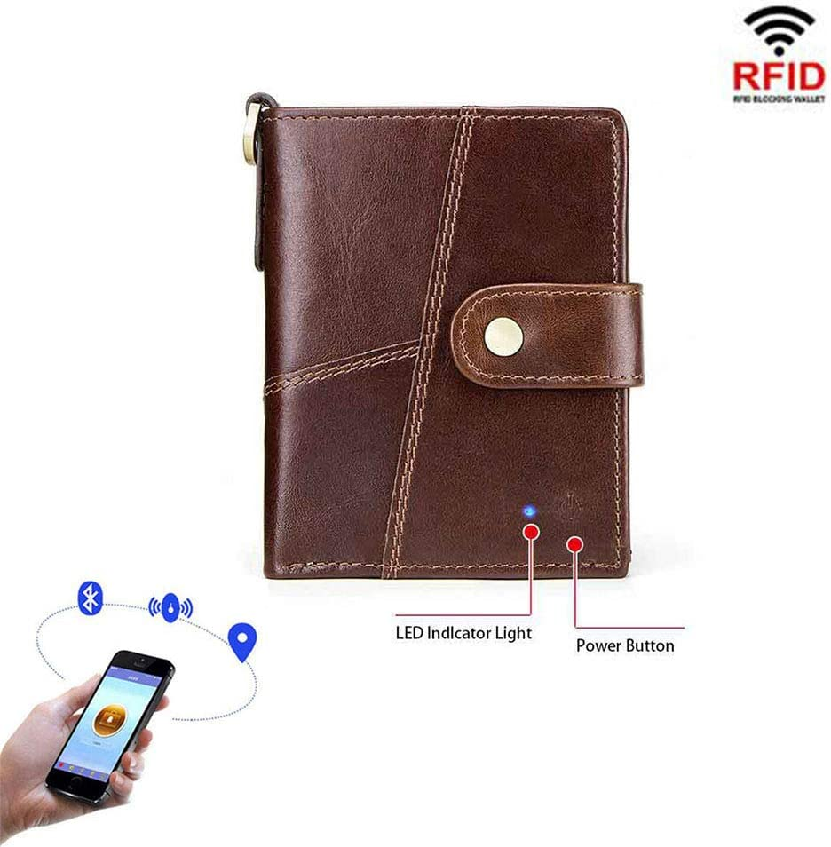 RFID Mens Tri-Fold Wallet Wallet Smart Anti-Lost Anti-Theft Zipper Coin Purse Multifunctional Lightweight Fashion Gift Casual Wallet Money Clip,1Pack