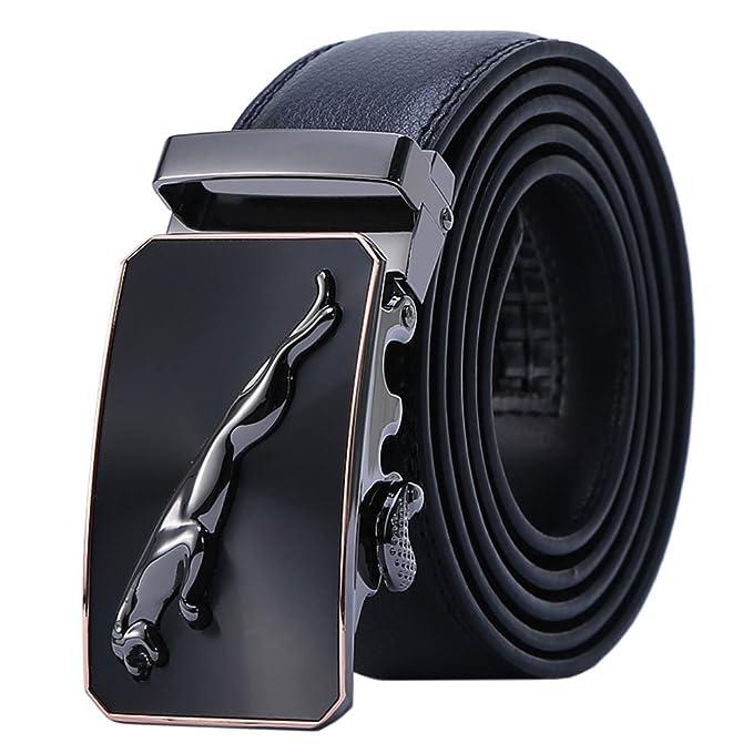 Cinturón De Cuero Genuino De Los Hombres Trajes De Negocios De Jaguar Casual Hebilla Reversible Con Trinquete Automático