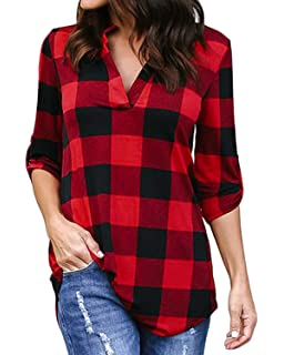 15339ffb426db7 YOINS Women Long Sleeve V Neck Shirts Plaid Casual Tops Check Classical  Blouses for…