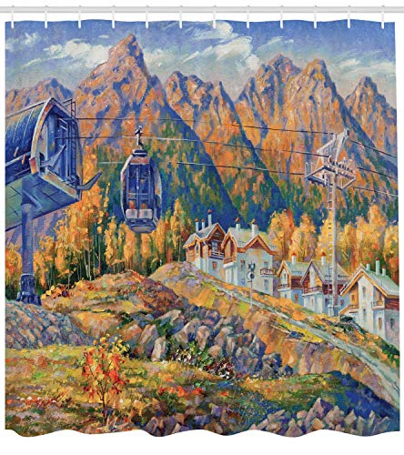 Ski Lift at The Resort of Rosa Khutor with Mountains on The Background Oil Painting Shower Curtain Cloth Fabric Bathroom Decor Set with Hooks,65.52