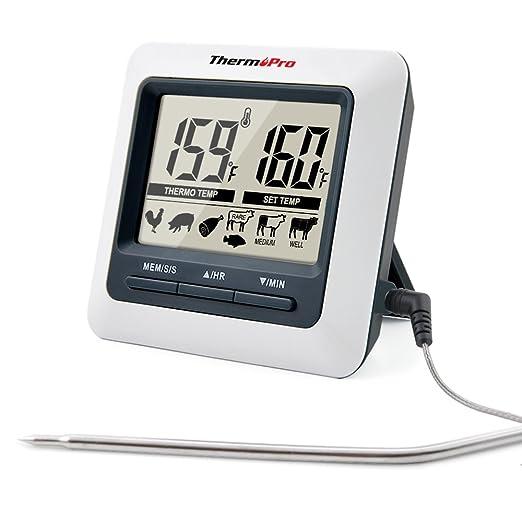 94 opinioni per ThermoPro TP04 Termometro da Cucina per Carne Forno Cibo Barbecue con Timer,