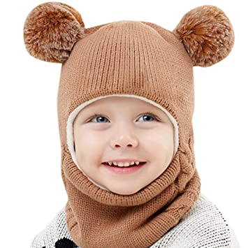 Toddler Kids Baby Boy Girl Hooded scarf Caps Hat Winter Warm Knit Flap Scarf New