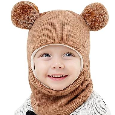 6b5a9417a97 Zerototens Baby Girls Boys Toddler Winter Hat Scarf Set Warm Earflap Hood  Cute Knit Hat Circle