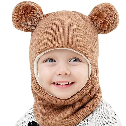 710a9628eea ManxiVoo Toddlers Girls Boys Winter Earflap Hood Scarf Shawl Hat Warm Knit  Flap Cap Cute Face