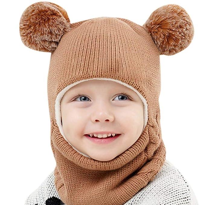 Liqiq Bambini Inverno Cappello Silenziatore Guanti 3 Pezzi 💖 Bambine Caldo  Pompon Cappelli Berretto Maglia del f2d1e05ef6fe