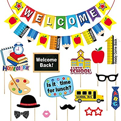 Amazon com: First Day of School Party Supplies Set, Include