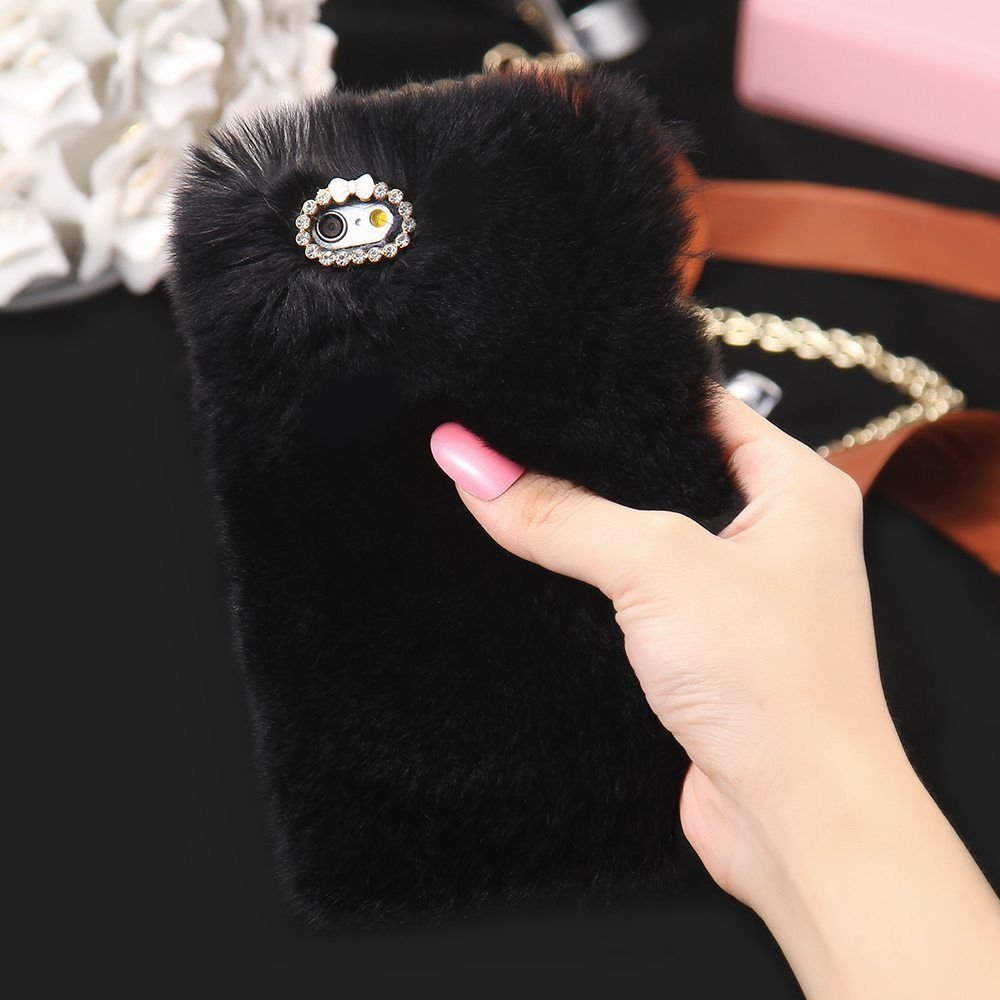 Galaxy S6 Cute Case,elecfan Furry Case Luxury Women Girly Cute Bling Diamonds Bowknot Design Fluffy Soft Warm Case Protective Back Cover for Samsung Galaxy S6 - Black