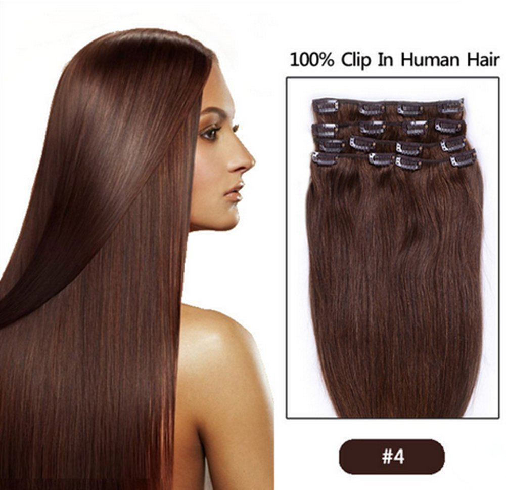 Fangyuanhair 20inch 100g Straight Clip In Human Hair Extensions