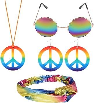 FANTESI Ensemble de Accessoire Hippie, Collier et Boucles d'oreilles avec Signe de la Paix et Lunettes de Soleil Hippie et Bandeau avec Noeud