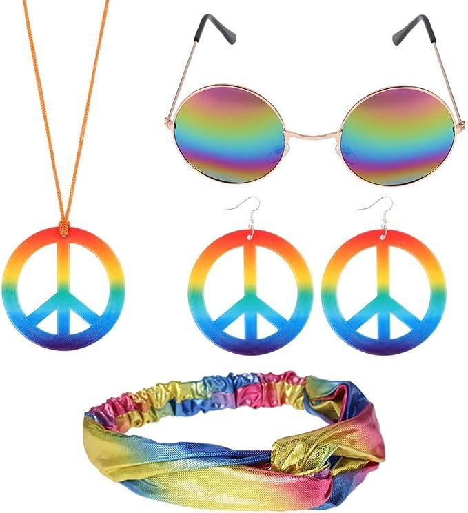 BKpearl - Juego de disfraz de hippie, gafas de sol hippie, collar ...