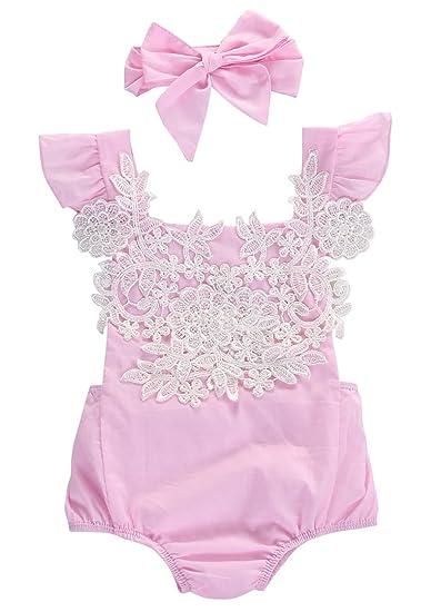 c316f278b326 Amazon.com  Baby Girls Lace Floral Romper Jumpsuit Bodysuit Headband ...