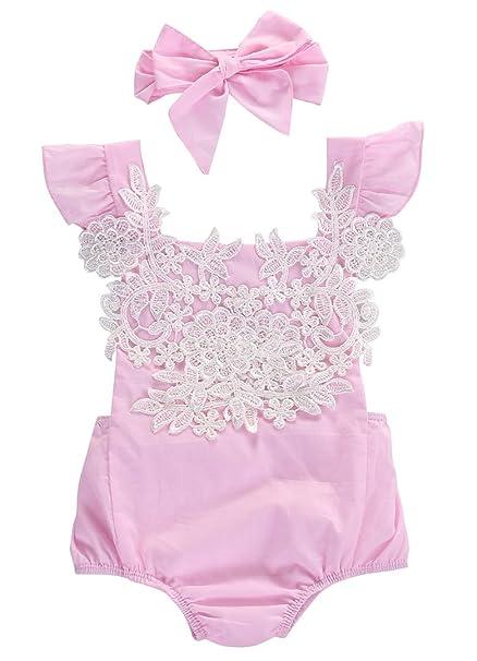 Amazon.com: Bebé niñas Body de encaje floral overol body de ...