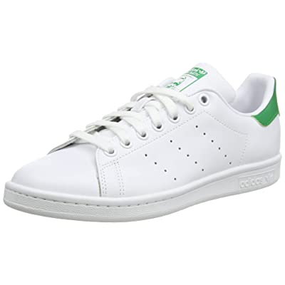 adidas Originals Men's Stan Smith Leather Sneaker, Footwear White/Core White/Green, 8.5   Fashion Sneakers