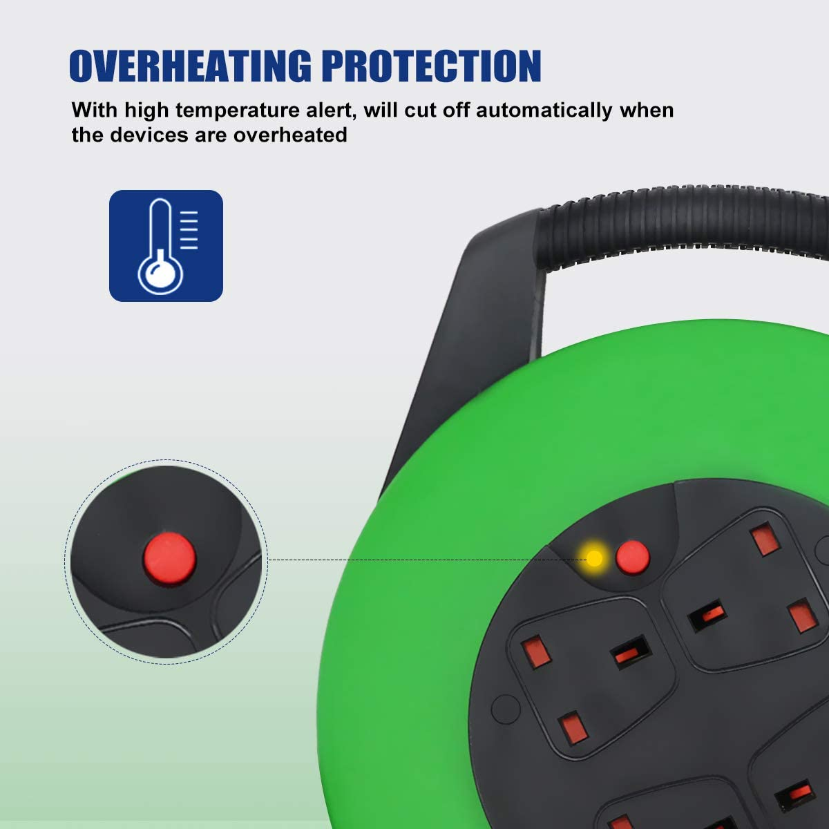 Heavy-Duty Extension Reel with 10 Metre Extension Cord 4 Sockets Medium Open Extension Lead with Winding Handle Thermal Cut Out Green+Black IP20 ExtraStar 13A Electrical Extension Cable Reel