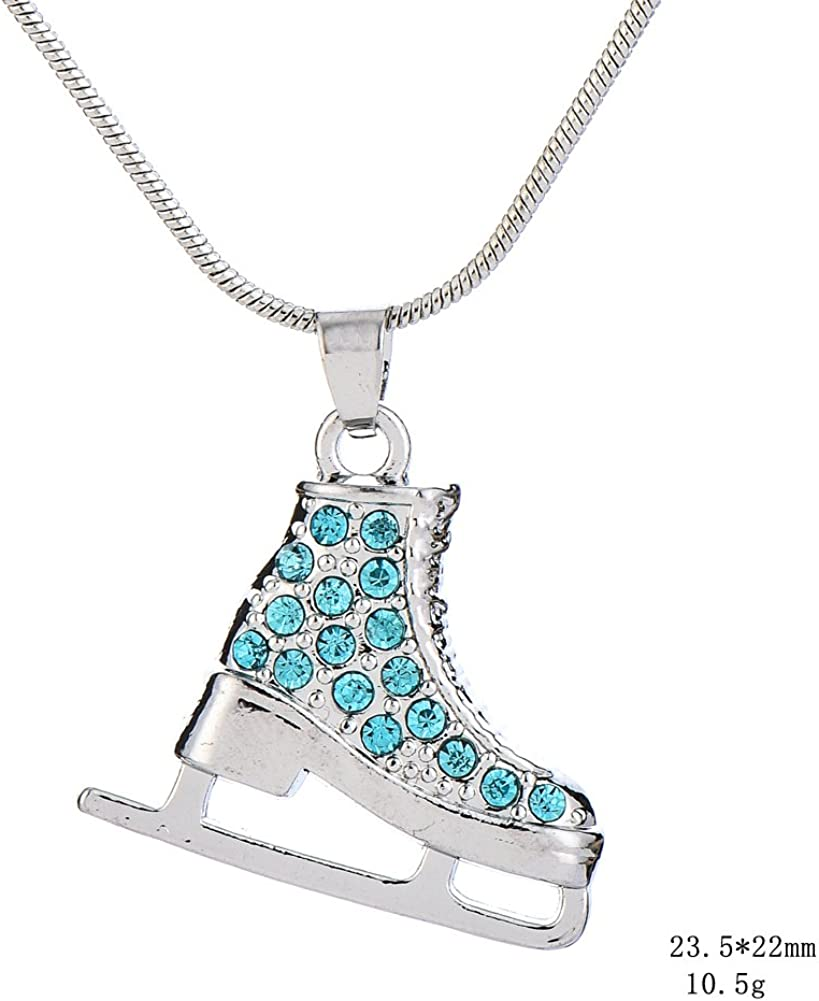 Lux Accessories Kids Girls Pink /& Silvertone Two Sided Skating Pave Ice Skate Pendant Necklace