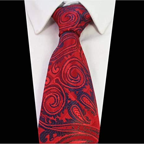 KYDCB Corbata de Seda 8 cm marrón Corbatas de Paisley para Hombres ...