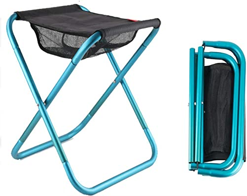 Large Folding Camp Stools, Heightened Load-Bearing Portable Folding Stool , up to 330 pounds, Very Strong Camping Stool, Suitable for Outdoor Camp, Beach, Picnic, Hiking 15.8 14.2 12.2 inch Blue