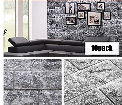 3D Wallpaper Marble Wall Panels Faux Brick Wallpapers Granite Wall Covering Peel and Stick 10 Packs 58.19 Sq feet for Living Room Bedroom Background Wall Decoration (Black, 30.31''L x 27.56''W) (Covering Wall Faux)