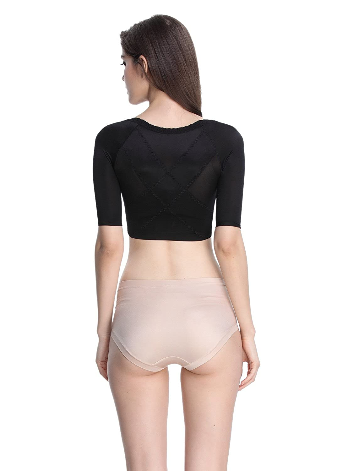 Shymay Womens Shapewear Tops Wear Your Own Bra Short Sleeve Crop Top Arm Shapers